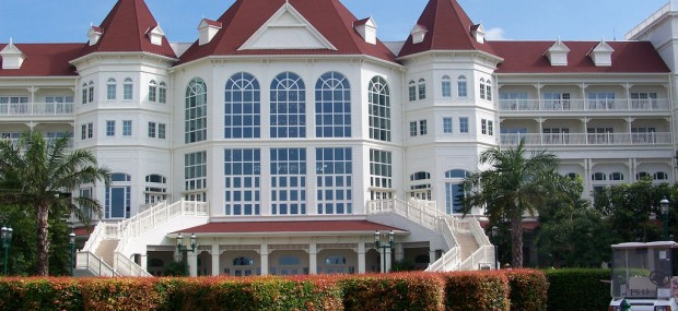 backside view of Hong Kong Disneyland hotel